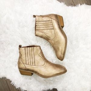 Distressed GOLD METALLIC Western Ankle Boots 10W